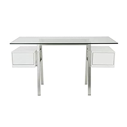 Amazon.com : Modern Glass and Stainless Steel Executive Desk ...