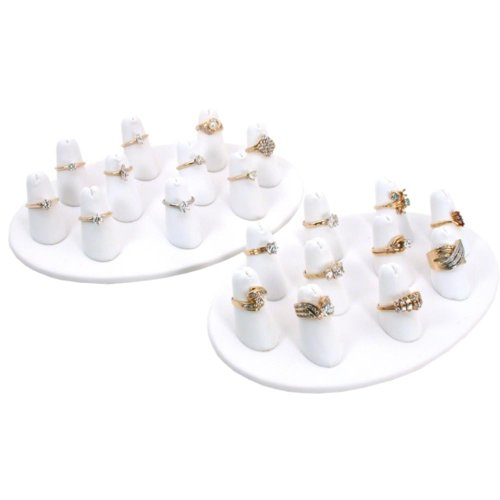 (2-10 White Leather Finger Ring Display Jewelry Showcase)