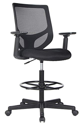 Smugdesk 1702 Tall Office for for Standing Desk Drafting Mesh Table Chair with Adjustable Armrest and Foot Ring Large Black