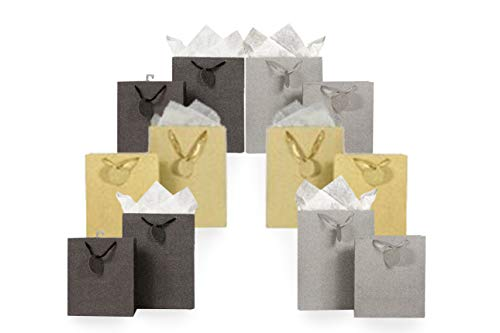 Metallic Glitter Gift Bag Assortment 2 Sizes 12 Bags Featuring Satin Ribbons, Gift Tags, Tissue Paper (Silver, Gold, Gunmetal)