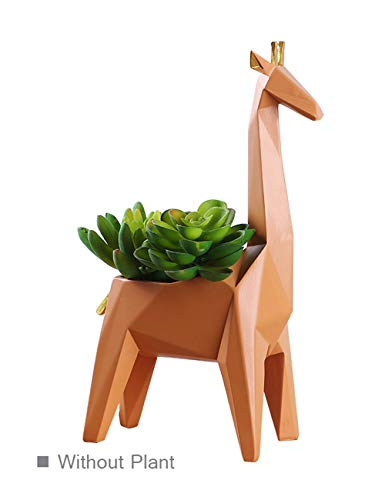 HomeBerry Succulent Cactus Planter Flower Pot Giraffe Figurine Sculpture Animal Statue Home Decor Gift Decoration Hand Painted Polyreisn 23cmH
