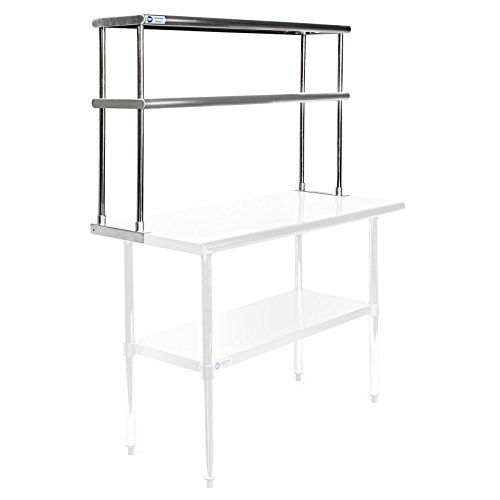 (Gridmann NSF Stainless Steel Commercial Kitchen Prep & Work Table 2 Tier Double Overshelf - 48 in. x 12 in.)