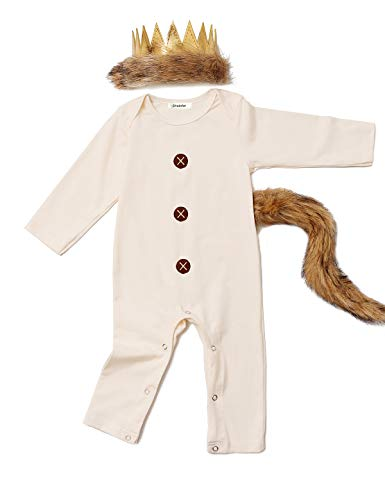 Baby Boys Halloween Costume Outfits King of The Wing Thing Romper with Tail and Crown (Beige,12-18 Months)