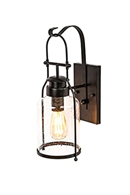 Rustic wall light Lantern with retro industrial loft lantern look in Rubbed Bronze powder coat finish with milk pioneer jug Glass