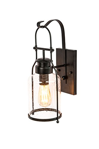 Rustic wall light Lantern with retro industrial loft lantern look in Rubbed Bronze powder coat finish with milk pioneer jug Glass (Lighting Wall Rustic)