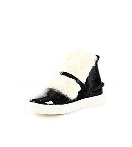 Manila Grace Dames Faux Fur Front High Top Sneakers Zwart