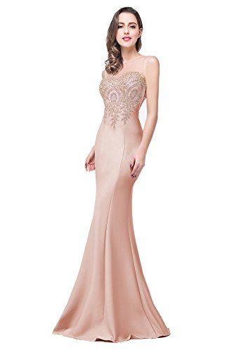 Women's Gold Lace Appliques Long Evening Wedding Mermaid Cocktail Party Dress, 8, Nude Pink