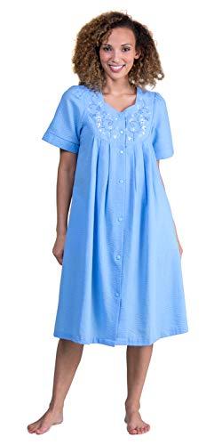 Miss Elaine Seersucker Short Snap Front Robe (853618) S/Chambray Blue