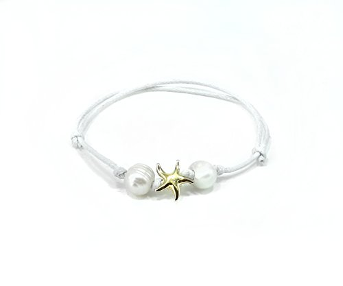- Jucicle Starfish Charm Freshwater Pearl Adjustable Knot Anklet