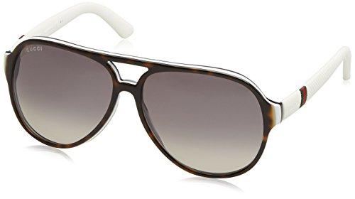 Gucci 1065S H5H Havana 1065S Aviator Sunglasses Lens Category - Sunglasses White Mens Gucci