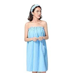 ORPERSIST Toalla para Mujer Toalla Tubo Albornoz Superfine Fibra Suave Absorbente Ducha Vestidor Falda Baños Ropa De Dormir70 * 140Cm (Rosa/Azul),Blue: ...