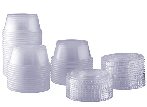 ([100 Sets - 3.25 oz.] Plastic Disposable Portion Cups With Lids)