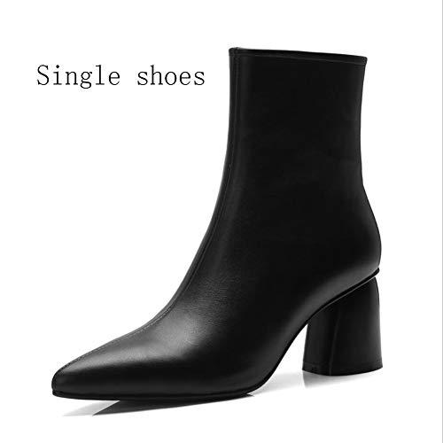 couleur B Pointus Bottes Cuir Taille À mollet Chaudes Formelles Chaussures D'hiver 34 Mi Talons En Xyh B Femmes qxwOngT