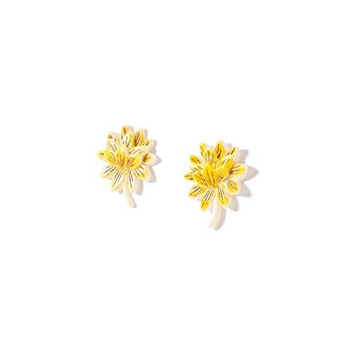 Brinco Flor Petalas Bege Semente - U