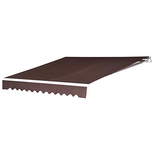 MCombo 13x8 Feet Manual Retractable Patio Door Window Awning Sunshade Shelter Outdoor Canopy(Coffee Brown)