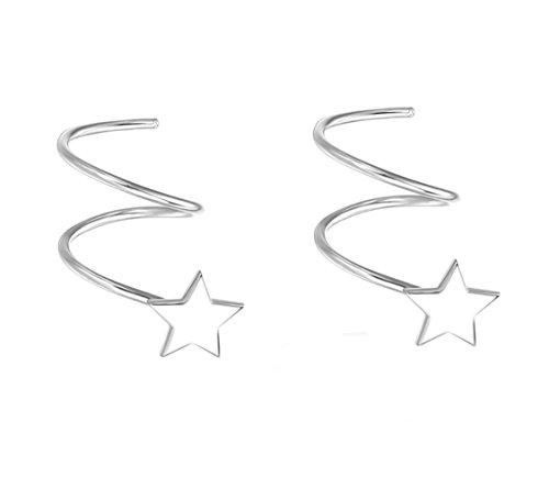 Minimalist 925 Sterling Silver Earrings Tiny Star Ear Stud Hook Earrings