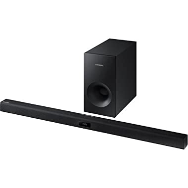 Samsung 2.1 Channel 120 Watt Sound Bar with Active Subwoofer Home Theater System, Bluetooth, Soundshare, Smart On, 6 DSP Settings, 3D Sound Plus, HDMI , USB Host, Black Finish
