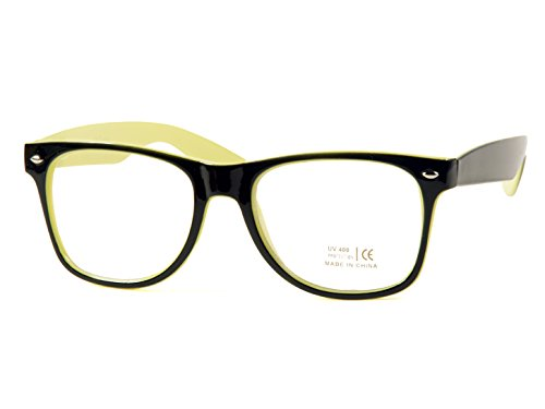 Goson Vintage Hipster Nerd Yellow Black two tone Frame/Clear Lens Wayfarer 57 mm - Prescription Big Glasses Nerd