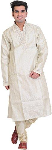 Exotic India Cloud-Cream Wedding Kurta Paja - Off-White Size 38 by Exotic India