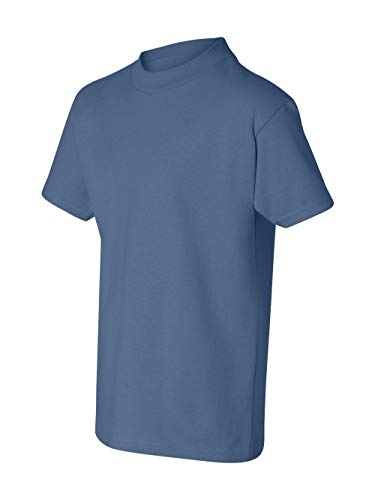 (Hanes Authentic Tagless Kid`s Cotton T-Shirt Denim Blue)