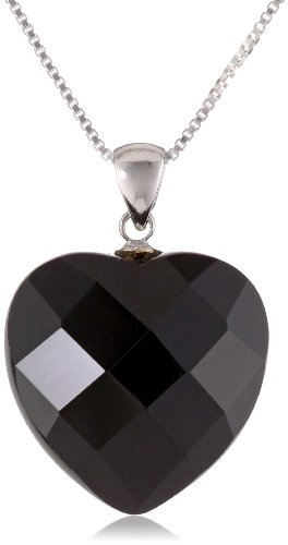 Sterling Silver Faceted Black Onyx Heart Pendant Necklace, 18
