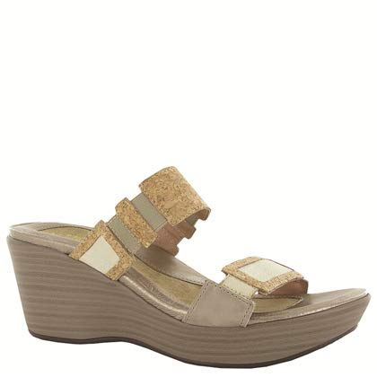Naot Footwear Women's Wedge Sandal Treasure Cork Lthr/Gold Threads Lthr 7 M -