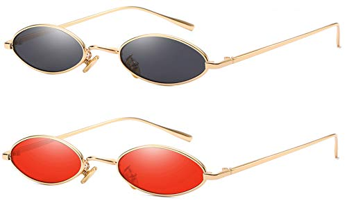 Mini Rectangle Frames - AOOFFIV Vintage Slender Oval Sunglasses Small Metal Frame Candy Colors