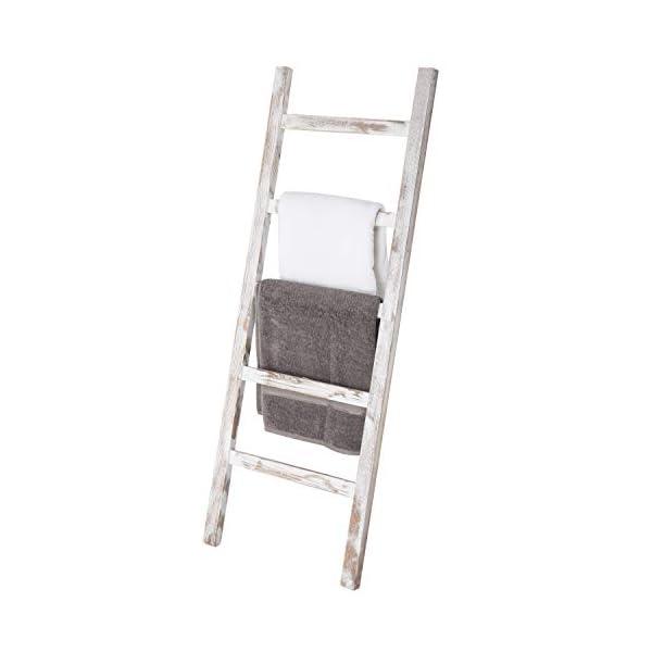 MyGift Wall-Leaning Vintage White Wood Ladder Blanket & Towel Rack
