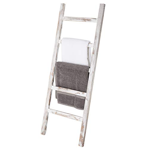 MyGift Wall-Leaning Vintage White Wood Ladder Blanket & Towel Rack