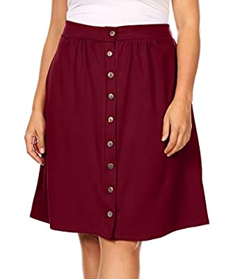 Womens Button Down Knee Length Plus Size A-Line Skirt with Pockets - Made in USA