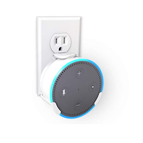 360 Electrical 360575 PowerClip Outlet Mount for Amazon Echo Dot (2nd Generation) - Alexa Plug-in Bracket Stand Holder Case, for Kitchen, Bathroom, Bedroom, Living Room, Office, White