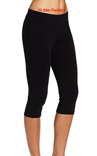 Ladyhers Women's Audel Cotton Yoga Capris Pants Tummy Control Workout Running Leggings 4 Way Stretch XL Black (Top Control Cotton Tights)