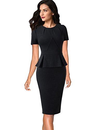 (VFSHOW Womens Pleated Crew Neck Peplum Wear to Work Office Sheath Dress 532 BLK S)