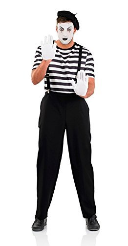 Pierrot Costume Uk (Pierrot Clown Mime Artist Male Fancy Dress Costume - Size XL (UK 46-48) by Parties Unwrapped)
