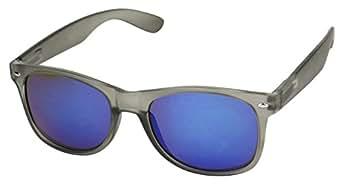 56798f694 Basik Eyewear - Round Frosted Shades Mirrored Reflective Lens 80's Wayfarer  Sunglasses (Blue Mirrored Lens