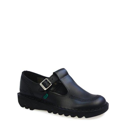 (Kickers Womens Kick T BAR Mary Jane Black Leather Flat School Shoes Size 8)