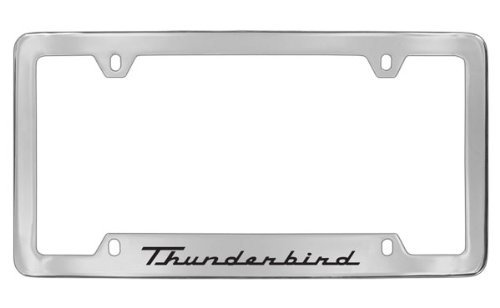 Ford Thunderbird Chrome Plated Metal Bottom Engraved License Plate Frame Holder