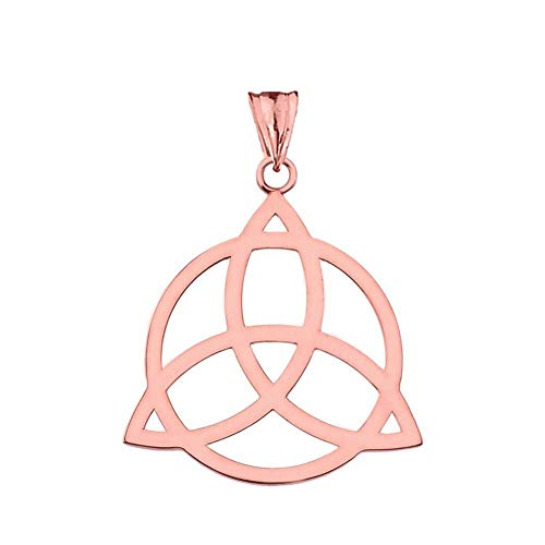 Elegant 10k Rose Gold Celtic Trinity Knot Circle of Life Silhouette Pendant