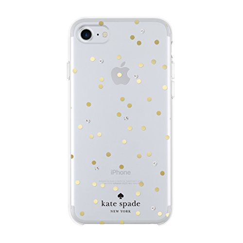 kate spade new york Cell Phone Case for iPhone 8/7/6/6s - Multi Scatter Dot Gold with Gems