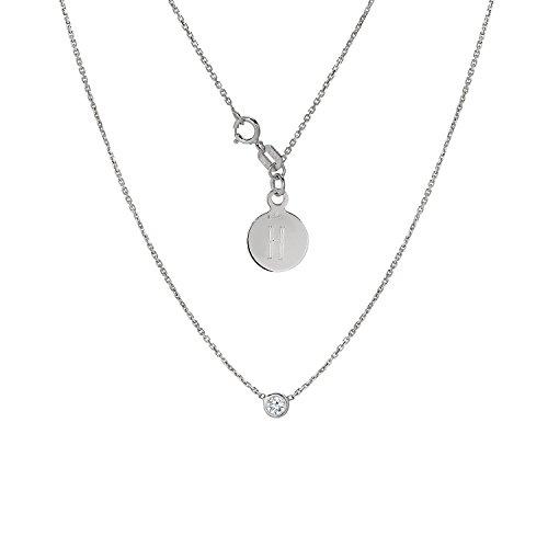 (Tousi Diamond Solitaire Necklace - Bezel set Necklaces - Solid 14K or 18Karat White Gold Pendant - White Natural Stone - Elegant Jewelry Gift - Minimalist Pendants and Choker- Free Engraving)