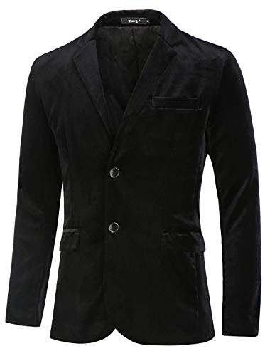 - TATT 21 Men Velvet Blazer Slim Fit Notch Lapel Two Buttons Sport Coat Jacket M Black