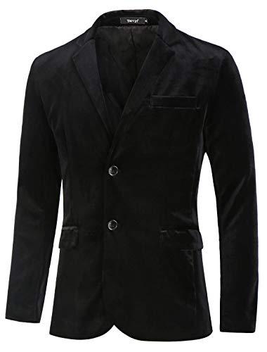 TATT 21 Men Velvet Blazer Slim Fit Notch Lapel Two Buttons Sport Coat Jacket S Black