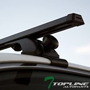 "Topline Autopart Universal 50"" Window Frame Style Aluminum Roof Rack Rail Cross Bars (Silver)"