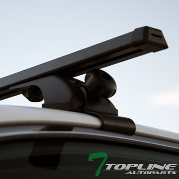 "Topline Autopart 50"" Black Aluminum Window Frame Roof Rail Rack Cross Bars Cargo Carrier Kit T1"