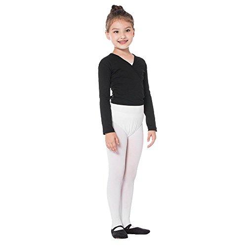 Bezioner Girls' Classics Ballet Wrap Top Long Sleeve Black, M (Wrap Ballet Black)