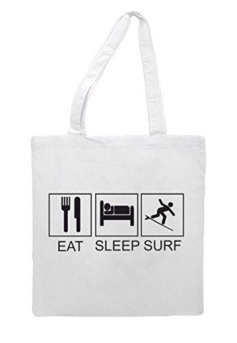 Funny Activity Sleep Eat Shopper Hobby Surf Tiles Tote Bag White qw1ZZft