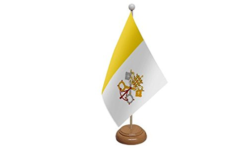 ideale per feste conferenze bandiera da tavolo con base in legno e asta ufficio 23 x 15,2 cm esposizioni Bandiera grande della Citt/à del Vaticano