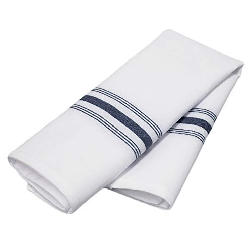 TableLinensforLess Spun Polyester Bistro Napkin, 18 in x 22 in Set of 6 (White w/Navy Stripes)
