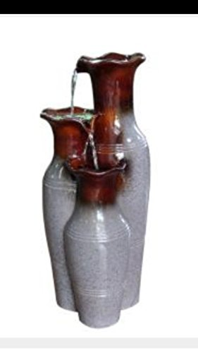 Hampton Bay Villa Ceramic Jars Cascading Garden Fountain with Adjustable Pump