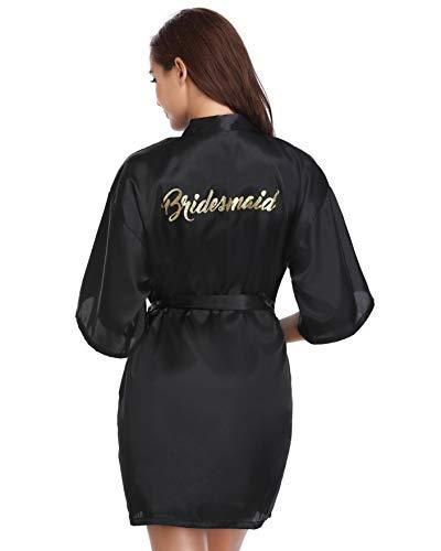 9fae929f578e5 Vlazom Women's Satin Robe Short Kimono for Bride & Bridesmaid Wedding Party  Robes with Gold Glitter